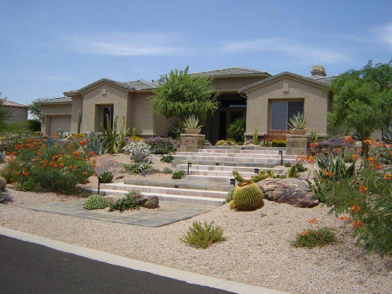 Desert Landscape Design Ideas paver driveway and landscaping for a southwest home generally the elements for this style of home are really simple while it may take some skill Desert Landscape Design Ideas