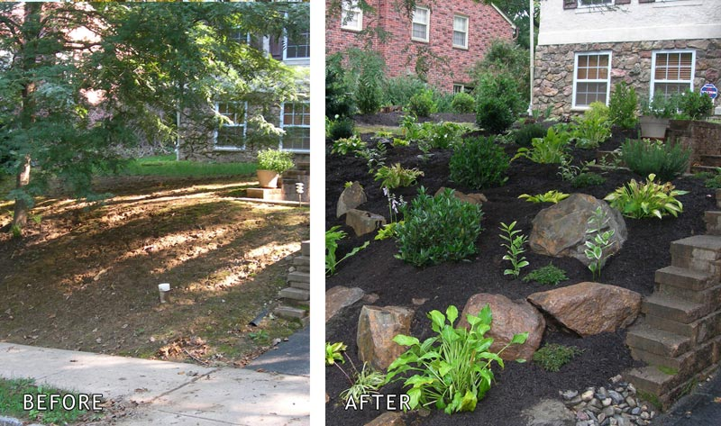 Small Front Yard Landscaping Before And After : Front yard ideas no grass landscape design
