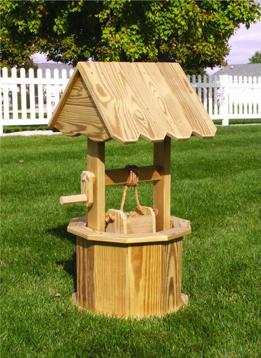 delightful landscape wishing wells #3: ... wooden-garden-wishing-well-planter ...