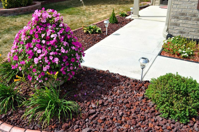 Red Landscaping Stone : Lava rock landscaping has both positive and negative