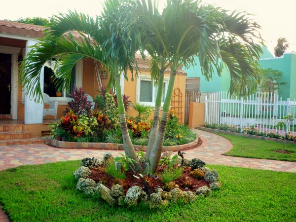 Palm tree garden bed designs pictures to pin on pinterest for Tree landscaping ideas