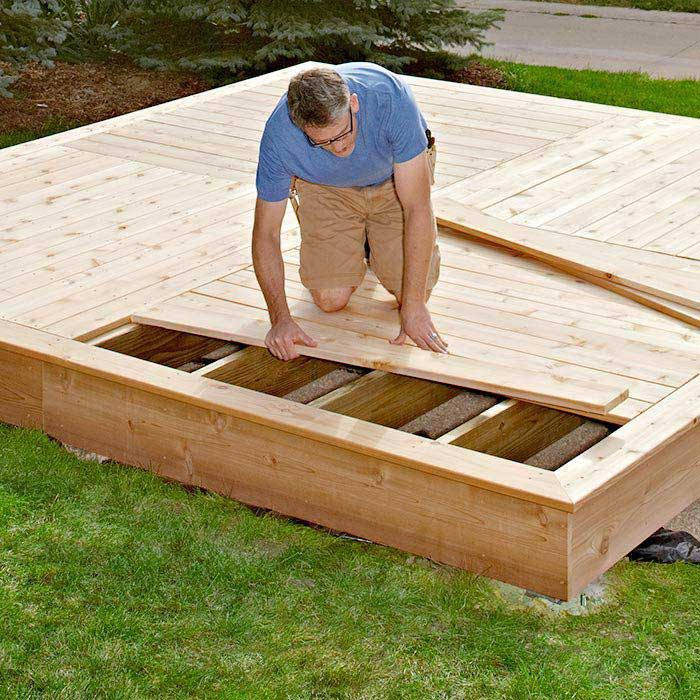 Floating deck plans effective project by diy network for Simple platform deck plans